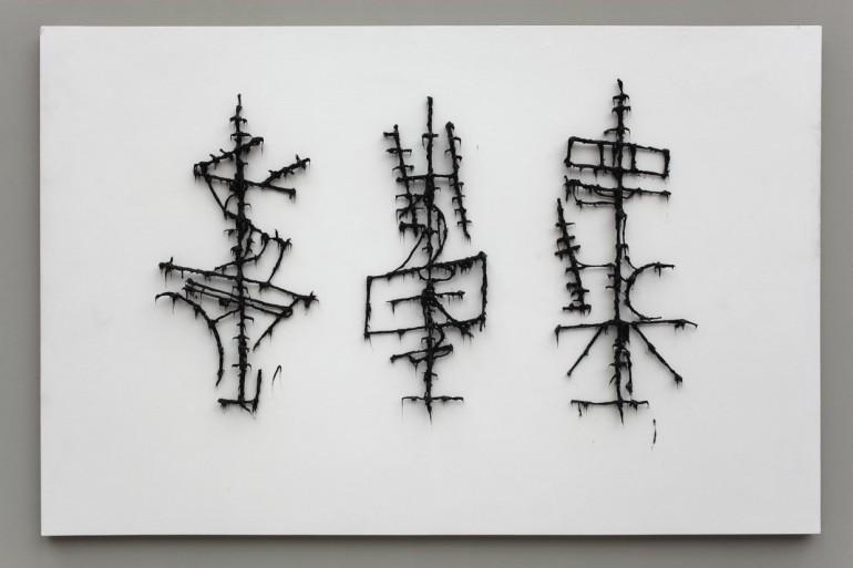 13 Předmalba kaligrafie - 2008, 150x190x20 cm, silokon na plátně (2)