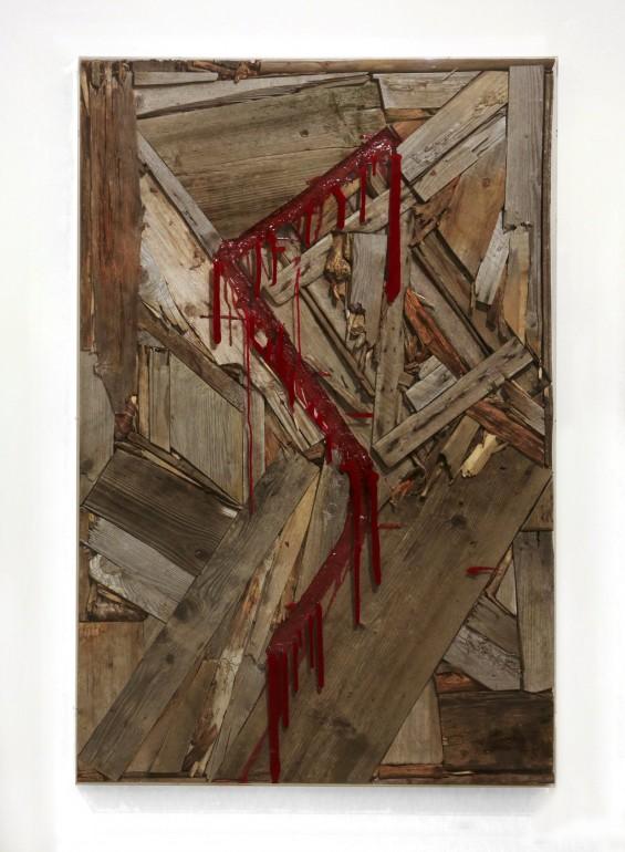 15 Vnitřní malba, 2012, dřevo, akryl, 160x110x10 cm